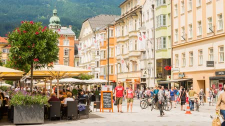 Innsbruck, Austria - July 13, 2015 Innsbruck Maria Theresien Town Square Austria with shopping people.