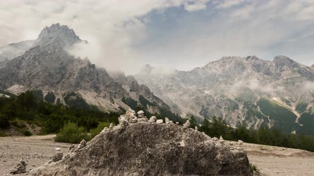 Ramsau, Germany - July 24, 2015: Time lapse or Ramsau Berchtesgaden National Park with mountains and clouds in Germany.