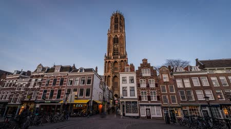 equinox : Utrecht, The Netherlands - March 14, 2016: timelapse of the tower of the cathedral of Utrecht - the Cathedral - in the evening light. Stock Footage
