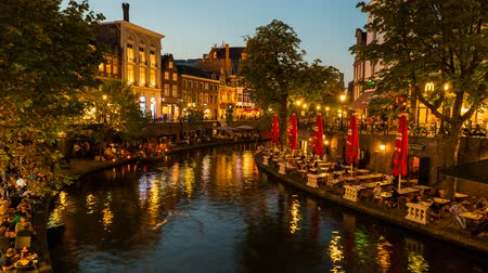 Time Lapse Video of the Old Canal Canal in Utrecht during sunset.