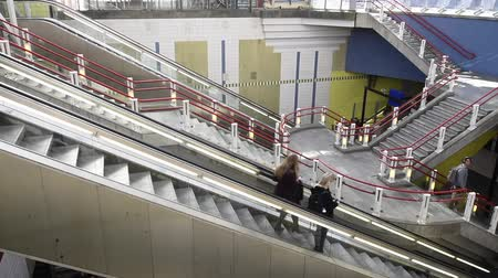 Rotterdam, Netherlands - March 24, 2017: Escalator of the Metro in Rotterdam at Blaak Station