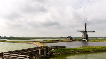 Oosterend, The Netherlands - September 18, 2015: timelapse of the mill North on the isle of Texel in Holland. Wideo