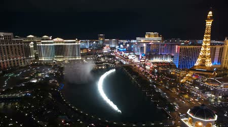 night : Editorial time lapse clip of the famous fountains between Bellagio and Paris resorts on the Las Vegas strip.
