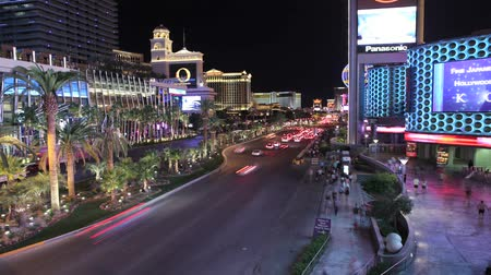 editorial : Editorial time lapse clip of heavy night traffic at Planet Hollywood, balleys and other resorts on the Las Vegas strip.