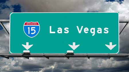 jel : Las Vegas Interstate 15 Fwy Sign Time Lapse Stock mozgókép