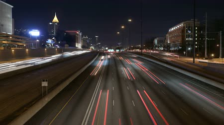ga : Fast traffic night time lapse on Atlantas Interstate 85 Freeway.