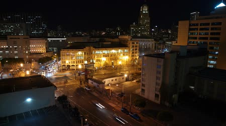 editorial : Editorial night time lapse at 8th Street at Market Street in San Francisco, California.