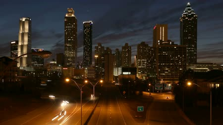ga : Downtown Atlanta Editorial Dusk Time Lapse with Zoom Stock Footage