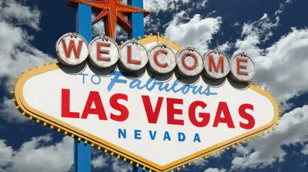 nevada : Welcome to fabulous Las Vegas sign time lapse clouds and zoom.