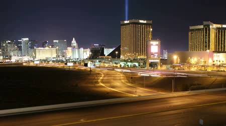 mandalay bay : Editorial time lapse view of Las Vegas stip and freeway with zoom Stock Footage