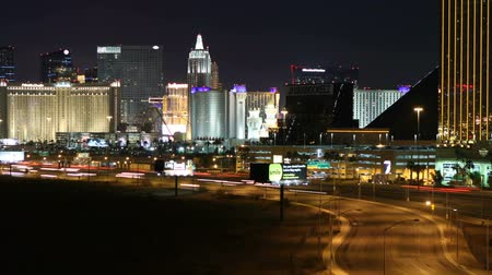 mandalay bay : Editorial time lapse view of Las Vegas strip and freeway with zoom