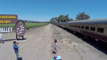 údolí : Napa, California, USA - July 4, 2015:  Summer holiday tourists visiting Napa welcome sign as excursion train passes by. Dostupné videozáznamy