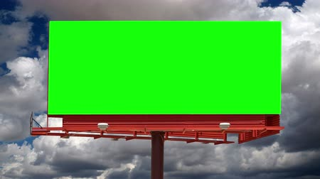 chroma key background : Blank billboard with green chroma key and time lapse sky.