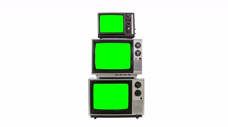 tüpler : Three vintage televisions on white with zoom into chroma green screen.