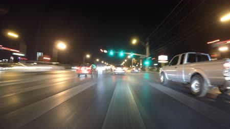 lapse : Las Vegas, Nevada, USA - November 25, 2016:  Car Mount Night Driving Time Lapse on Desert Inn Road and Valley View Blvd. Stock Footage
