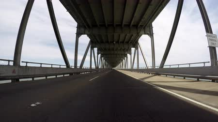 richmond : Richmond bridge lower deck driving over San Francisco bay. Stock Footage