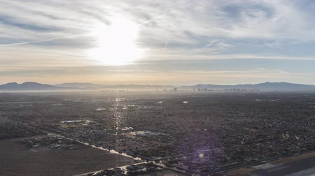 Sunrise time lapse with zoom in view from the top of Lone Mountain towards North Las Vegas, Nevada.