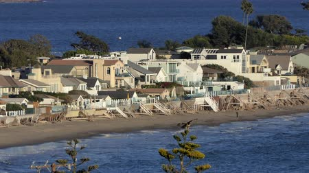 Beach front homes with Red Tailed Hawk in the exclusive Malibu Colony area near Los Angeles, California. Stock Footage