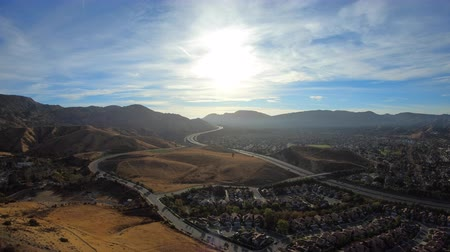 Aerial morning view of Simi Valley and the Santa Susana Mountains in Southern California.