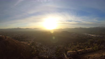 Aerial sunrise view of Thousand Oaks and Newbury Park in Ventura County, California.