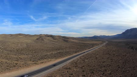 Aerial view of highway 157 in the Mojave Desert near Las Vegas Nevada.