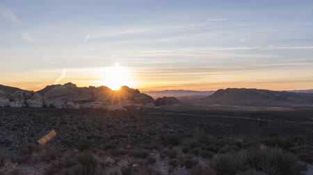 Sunrise time lapse view with zoom in towards Calico Rocks at Red Rock Canyon National Conservation Area near Las Vegas Nevada.