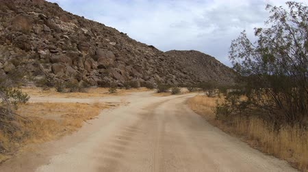 Anza Borrego California desert dirt road driving with car mount.