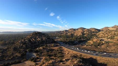 Aerial view of Topanga Canyon Bl and Stoney Point in the West San Fernando Valley area of Los Angeles, California.