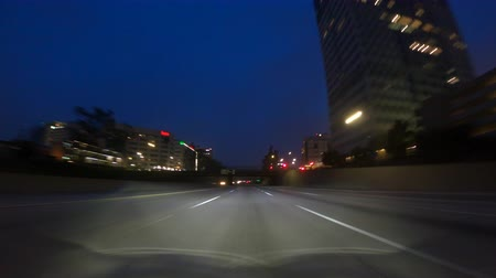 Los Angeles night driving time lapse on route 134 freeway east through Glendale and Eagle Rock California.