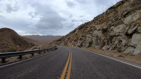 California Anza Borrego desert mountain road driving with car mount on route S2. Stock Footage