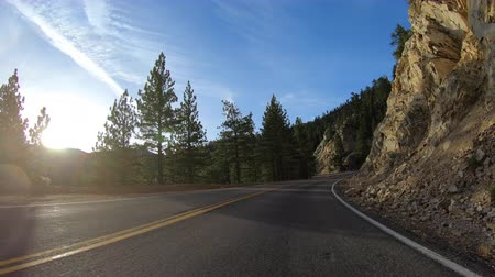 Sunrise drive on Angeles Crest Highway in the San Gabriel Mountains above Los Angeles California.