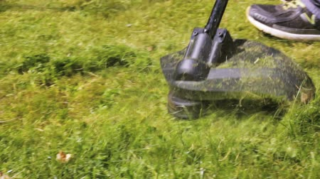 cutting up : Cutting grass with lawn mower. Close Up.