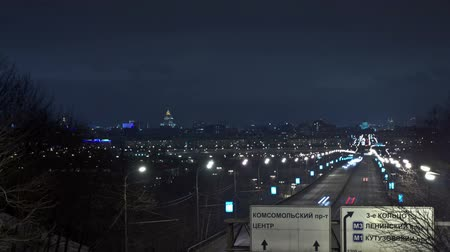 homályos mozgás : Moscow night urban view. Time Lapse. Stock mozgókép