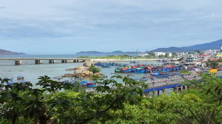 etnisite : Asian City. Panorama of the city of Nha Trang. Vietnam. Stok Video