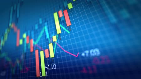 waluta : Stock Market Chart on blue background. Shallow Depth of Field. Loop ready.