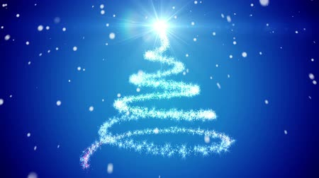 Abstract Christmas tree. Snow falling. Stock Footage