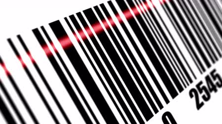 сканирование : Scanner scanning barcode on with background. Стоковые видеозаписи