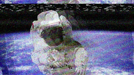 astronauta : The astronaut in outer space with bad signal of camera.