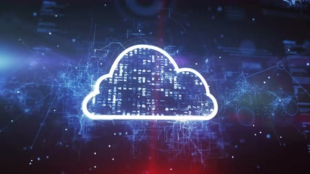 nowoczesne technologie : Cloud System Technology Concept on a cyber background. Wideo
