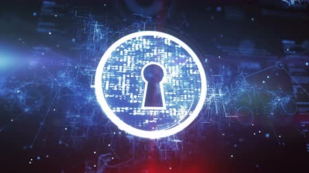 entrance : Keyhole. Internet Security Concept on a Cyber Background. Stock Footage
