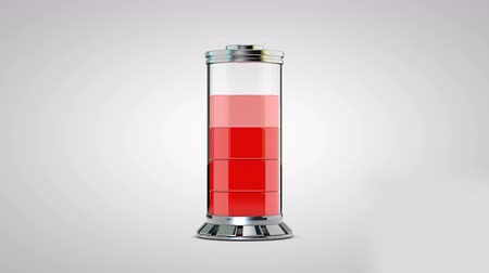 ayarlamak : Transparent battery is charging red and rotates around its axis on white background  abstraction  unusual