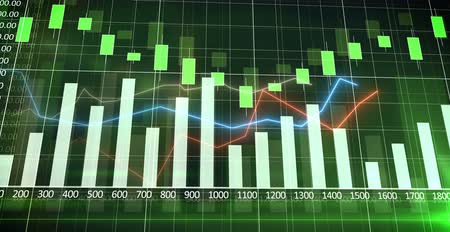 экономика : Colorful financial graph showing a increasing tendency with a bar charts and curves with a green backgroundBuisness, Financy, Economyanimated abstract