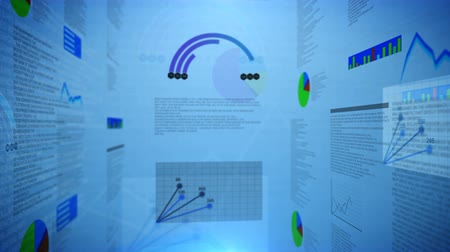 инвестирование : movement in 3D space of economic charts, graphs and curves with a blue background  business ideas, reports, projects  abstract