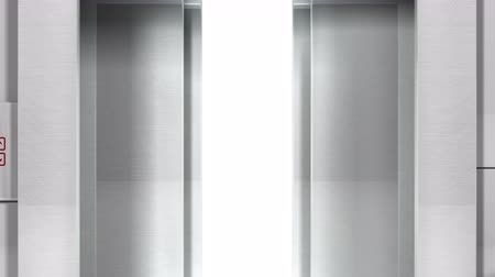 drzwi : Realistic chrome metal office building elevator opens doors to white space. Matte channel included.