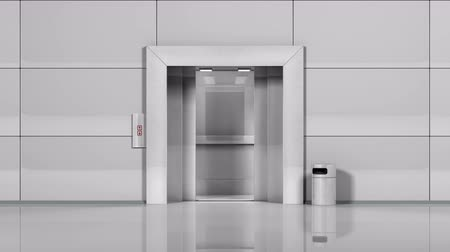 asansör : Realistic chrome metal office building elevator opens and closes doors. Stok Video