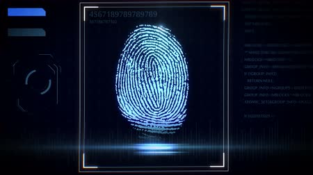 parmak izi : 3D rendering of Fingerprint scanner, identification system. Stok Video