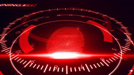 digitized : Abstract Fingerprint Scanning.Technology Concept. Red color.