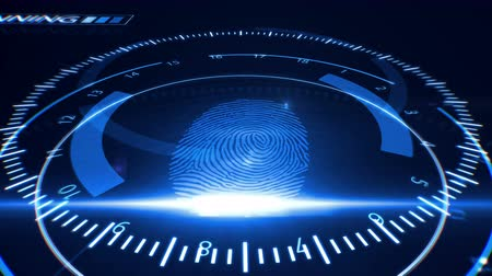 ladrão : Abstract Fingerprint Scanning.Technology Concept. Blue color.