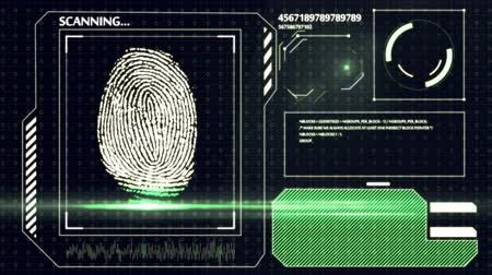 parmak izi : Scanning human fingerprint. Interface HUD. Technology background. Stok Video