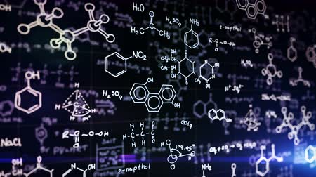 bordo : Chemical formulas on blue background. Science concept. Stock Footage